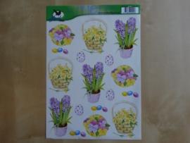 3d knipvel Pasen en Bloemen Voorbeeldkaarten 2441