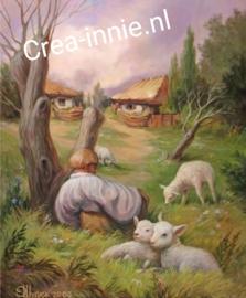 landschap met schapen huisjes en huisjes met een gezicht erin.