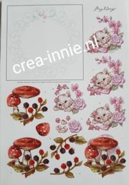 3d knipvel borduren sjaak borduurpatroon met kat met roze bloemen en paddenstoelen