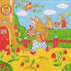 konijn met knapzak en boom