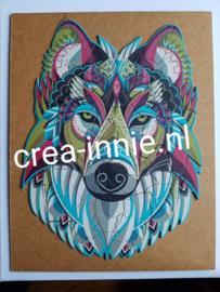 Kartonnen puzzel wolvenkop voorbeeld