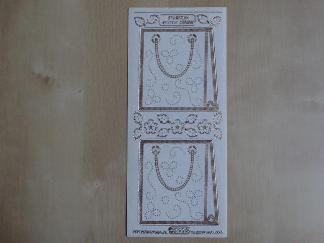 Stickervel Borduren 3190 Starform Transparant met Goud randje