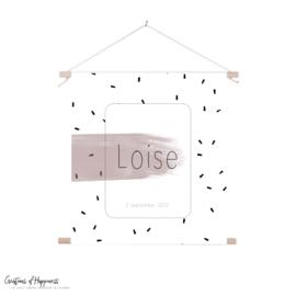 Textielposter | Naam | Roze | Gepersonaliseerd