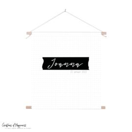 Textielposter | Naam | stipjes | Gepersonaliseerd
