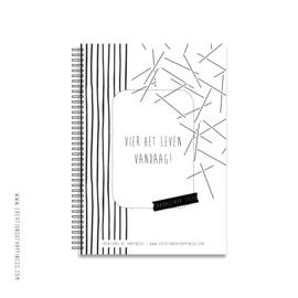 Agenda 2020 | Vier het leven vandaag! | Zwart/wit | A5 | Met GRATIS boekenlegger + elastiek!