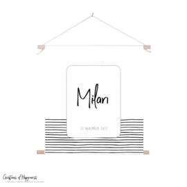 Textielposter | Naam | Strepen | Gepersonaliseerd