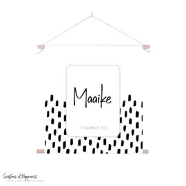 Textielposter | Naam | Vlekken/vierkant | Gepersonaliseerd