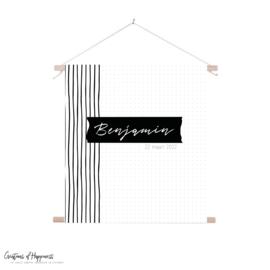 Textielposter | Naam | Stipjes/streep | Gepersonaliseerd
