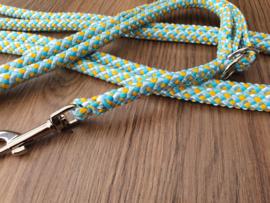 2-StandenLijn 300/150 cm - Turquoise/BabyBlauw/Geel Mix