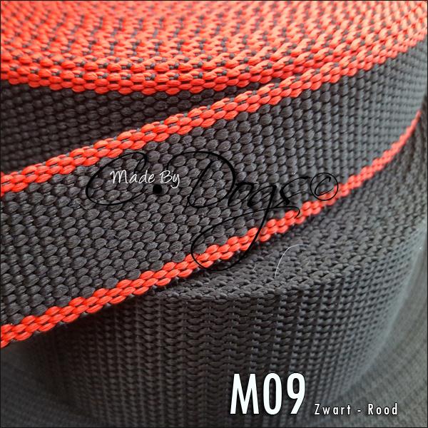 M09 - Zwart/Rood | per meter