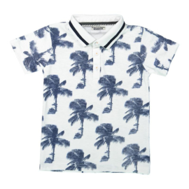 DJ Dutchjeans polo ss aop, white/navy - Adventurous journey