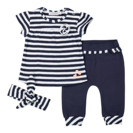 Dirkje 2 pce baby setje incl. haarband- Navy stripe - So fresh all of me