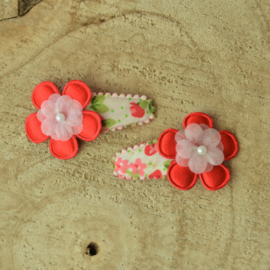 Haarknipje ♥ rode bloemen