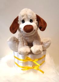 Pampertaart knuffel hond - 1 laag klein