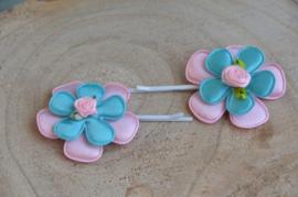 schuifspeldjes ♥ pastel roze & blauw