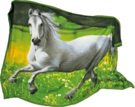 Fleece dekentje wit paard