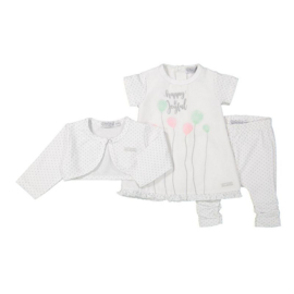 Dirkje 3 pce babysuit jurkje wit - so soft happy and joyful