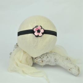 Haarband ♥ stoffen bloem klein - roze/zwart