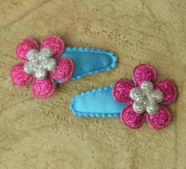 Haarknipje ♥ roze & blauw