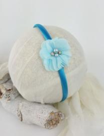 Diadeem ♥ chiffon bloem strass - blauw