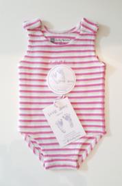 Ducky Beau romper ♥ baby pink streepjes
