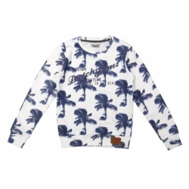 DJ Dutchjeans sweater aop, white navy - Adventurous journey