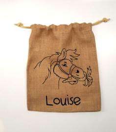 Jute Sint zak met naam - Paard met wortel