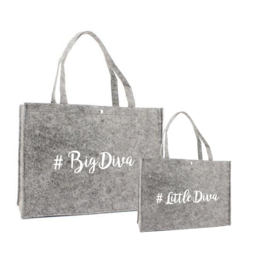 Vilten shoppingtas set ♥ Diva & Little Diva