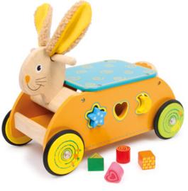 Ride-on konijn met houten blokjes