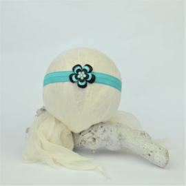 Haarband ♥ stoffen bloem klein - mint/zwart