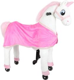 Wit rijdend paard eenhoorn