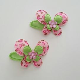 Haarknipje ♥ Bloemenvlinder groen/roze