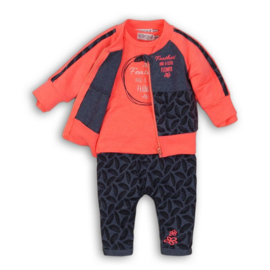 Dirkje 3 pce baby setje navy melee/bright pink - So bright feathers
