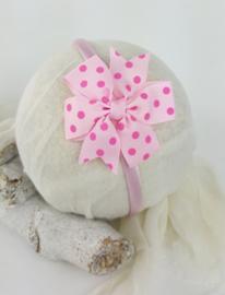 Diadeem ♥ stoffen strik - roze/fuchsia stippen