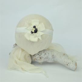 Haarband ♥ Strik stof Minnie - wit