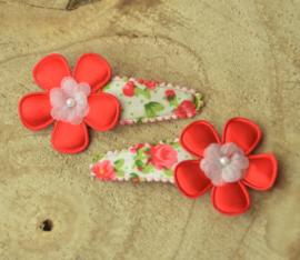 Haarknipje ♥ bloemenprint rood