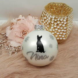 Kerstbal met naam van je hond & hondenras