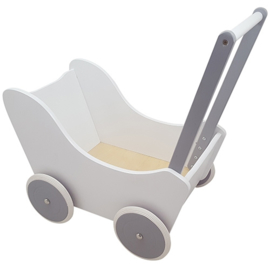 Playwood - Poppenwagen wit/zilver
