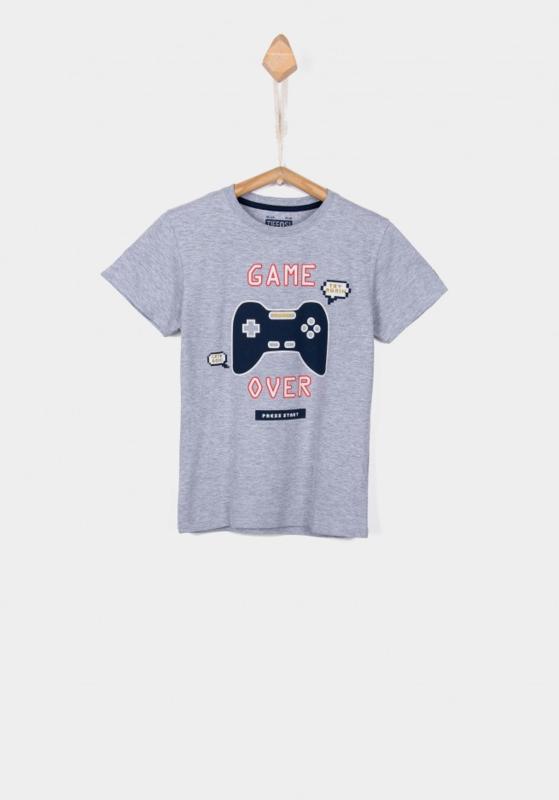 Tiffosi t-shirt Pixel Glow in the dark - Paloma grijs