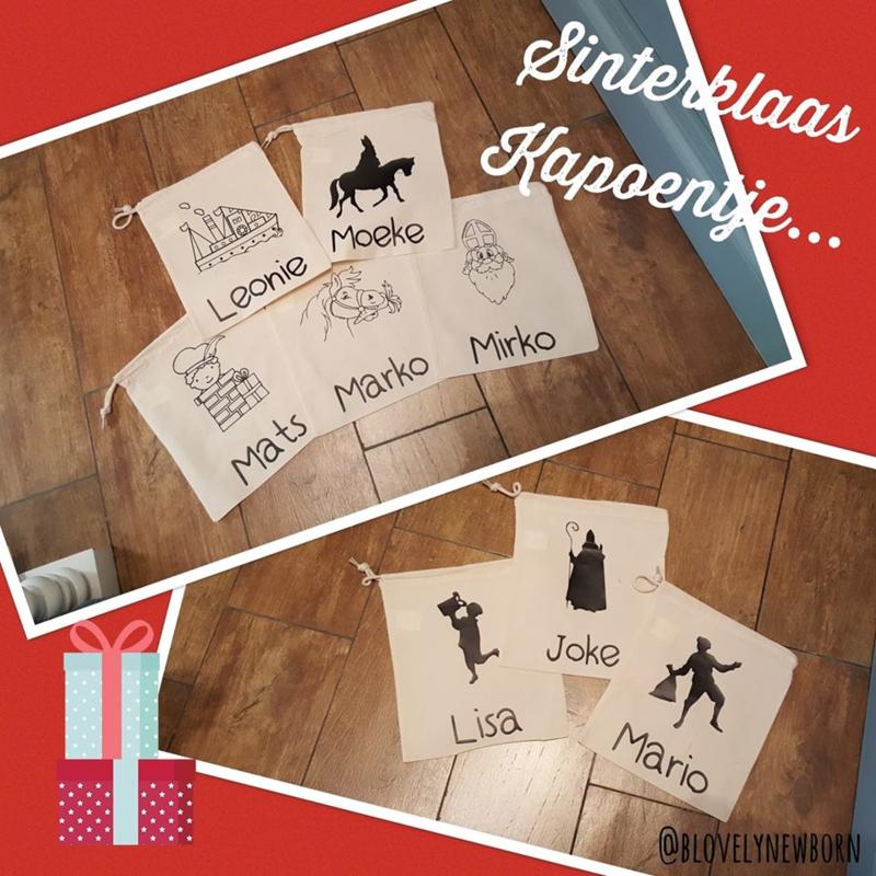 Katoenen Sint zak met naam - Sinterklaas