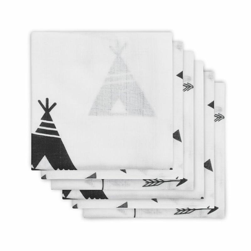 Jollein - Hydrofiel luier Indians black & white (6 pack)