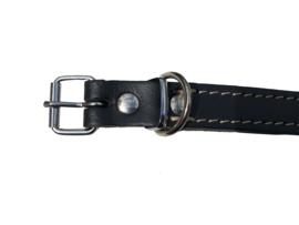 Lederen halsband 22mm, dubbel leer, gestikt, 55 cm