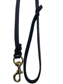 Lederen showlijn met messing musketon, 220cm, bruin, 8mm