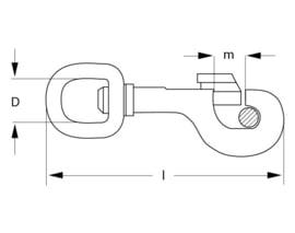 Musketonhaak zwart, 80 mm x 19