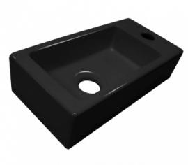Fonteinset  zwart porcelein met kraan en sifon.