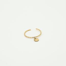 Ring met hangend rondje goud