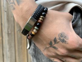 Stoere brede zwarte heren armband