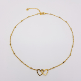 Ketting Double Heart (RVS)