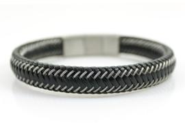 Stoere zwarte heren armband met stiksel