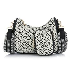 Schoudertasje Cheetah White ovaal met coin purse